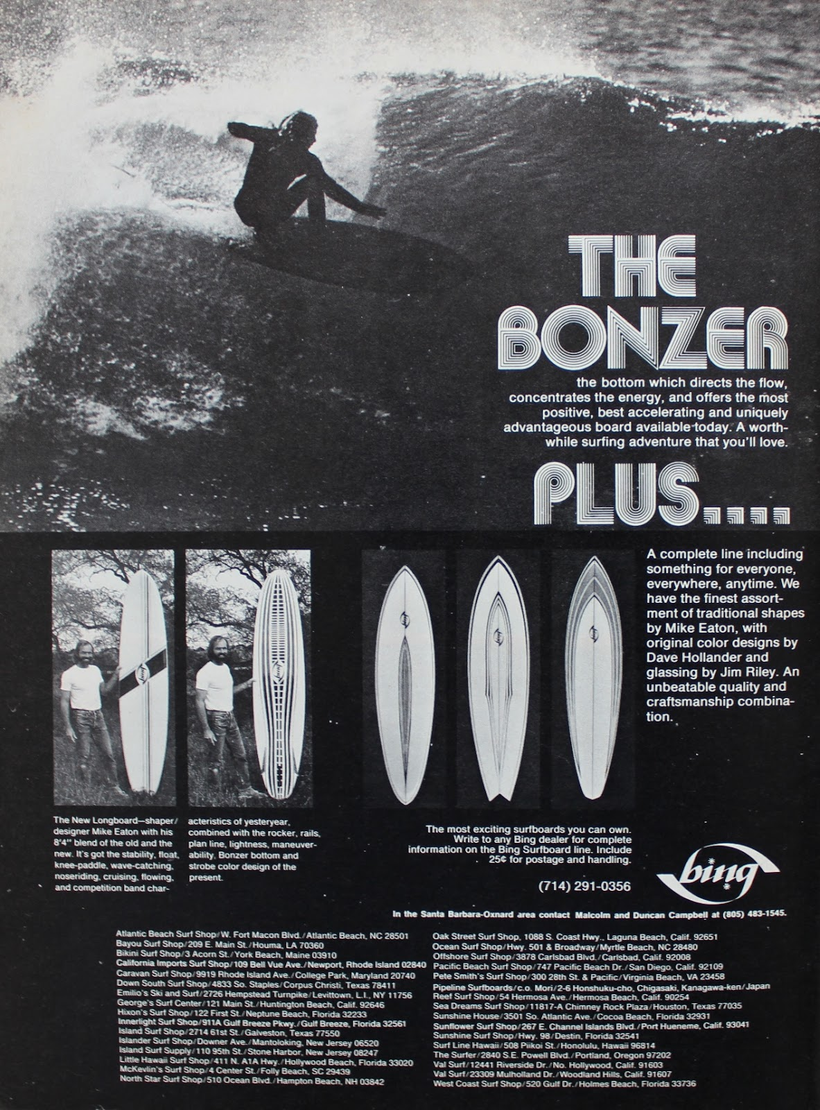 Bing Bonzer Ad Surfer Mag 1974 Shapes By Mike Eaton