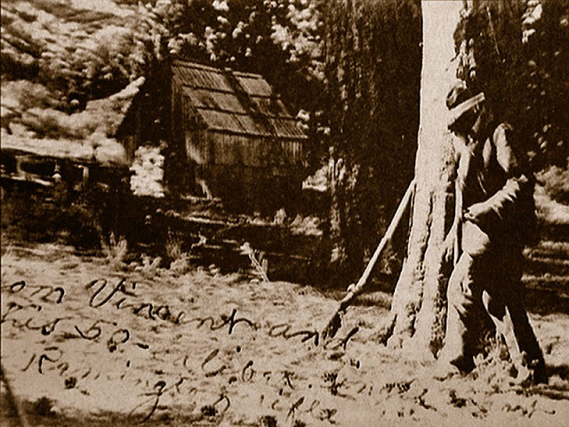 Tom Vincent and his 50 caliber Remington hunting rifle near his cabin, late 1800's.