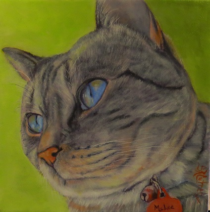 MaLee, a cat portrait in oils