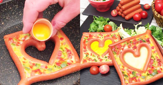 Corazón de salchicha y huevo: ¡un desayuno perfecto para compartir con tu pareja!