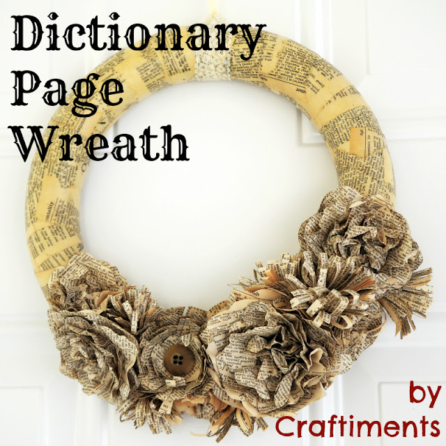 Craftiments:  Dictionary Page Wreath