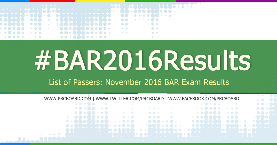 a8c29daa80fd6 LIST OF PASSERS  2016 Philippine Bar Exam Results - PRCBoard.com