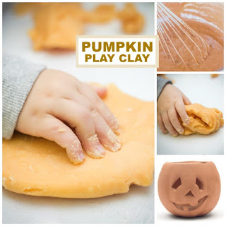 PUMPKIN PLAY CLAY!  Easy recipe- only 2 ingredients! #pumpkinclay #pumpkinplaydough #pumpkinplaydoughrecipe #playdoughrecipe