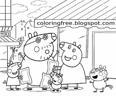 Simple playgroup cartoon mummy pig and daddy pig shopping for toys Peppa Pig colouring book pages