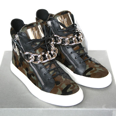 ca966b67f93cb GIUSEPPE ZANOTTI Homme camouflage pony hair shoes chain hi-top sneakers 41  NEW