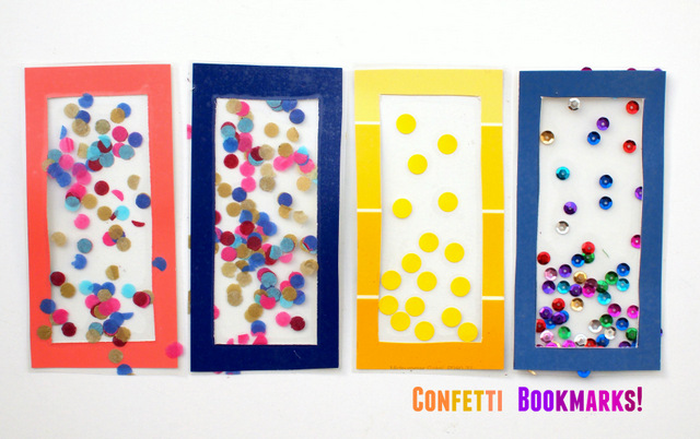 let's make some confetti bookmarks!  easy to make bookmarks to celebrate the start of the new school year!