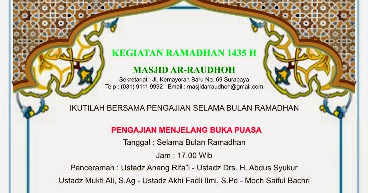 Masjid Ar-Raudhah: Jadwal Kegiatan Bulan Ramadhan 1435 H