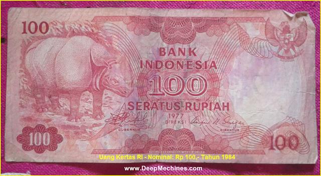 Gambar bagian Depan Uang Kertas RI - Rp 100,- Tahun 1977