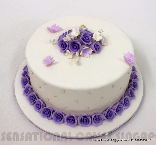 The Sensational Cakes Simple Violet Rose Theme Wedding Cake 1 Tier