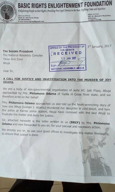 Mother petitions Saraki, IGP, Dogara, over the alleged murder of her daughter by an Alhaji in Abuja, demands justice