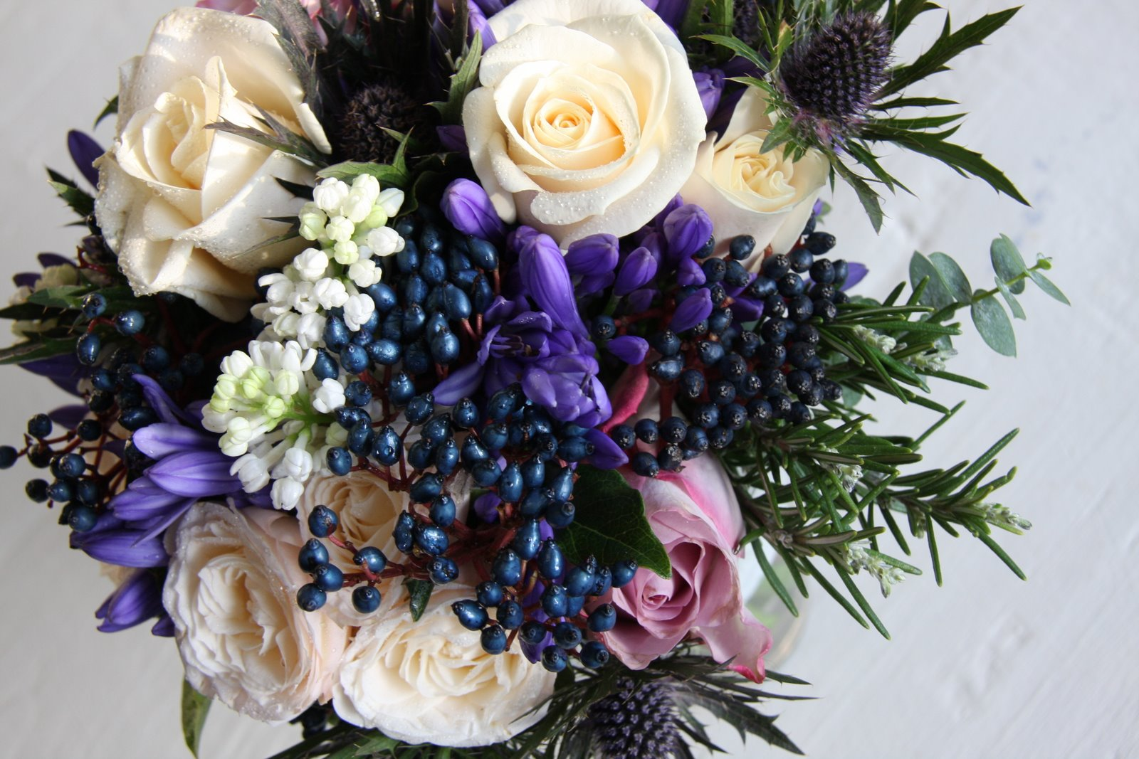 The Flower Magician: Winter Wedding Bouquet To Tone With Blue