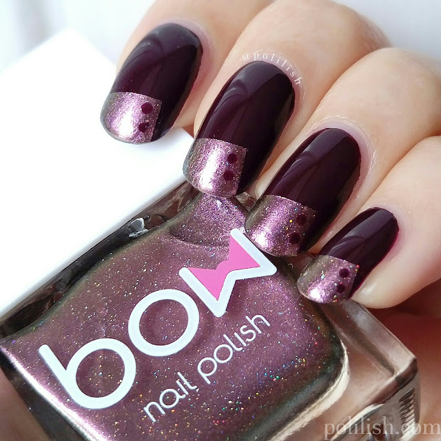 Purple tape manicure inspired by Nailside, by polilish