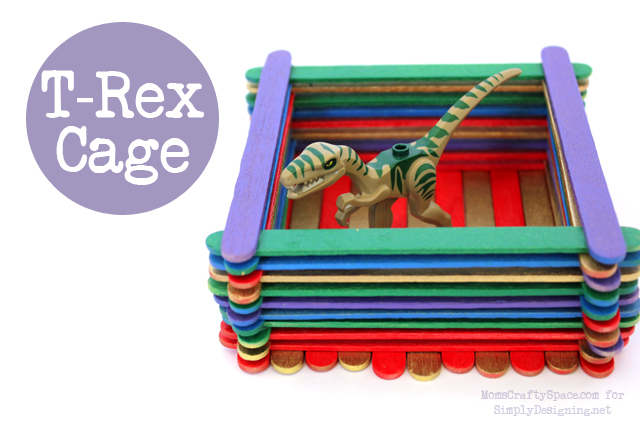 T-Rex Cage with Popsicle Sticks - this is a really fun kid craft that has so many uses!  #kidcraft #kidactivity #summer