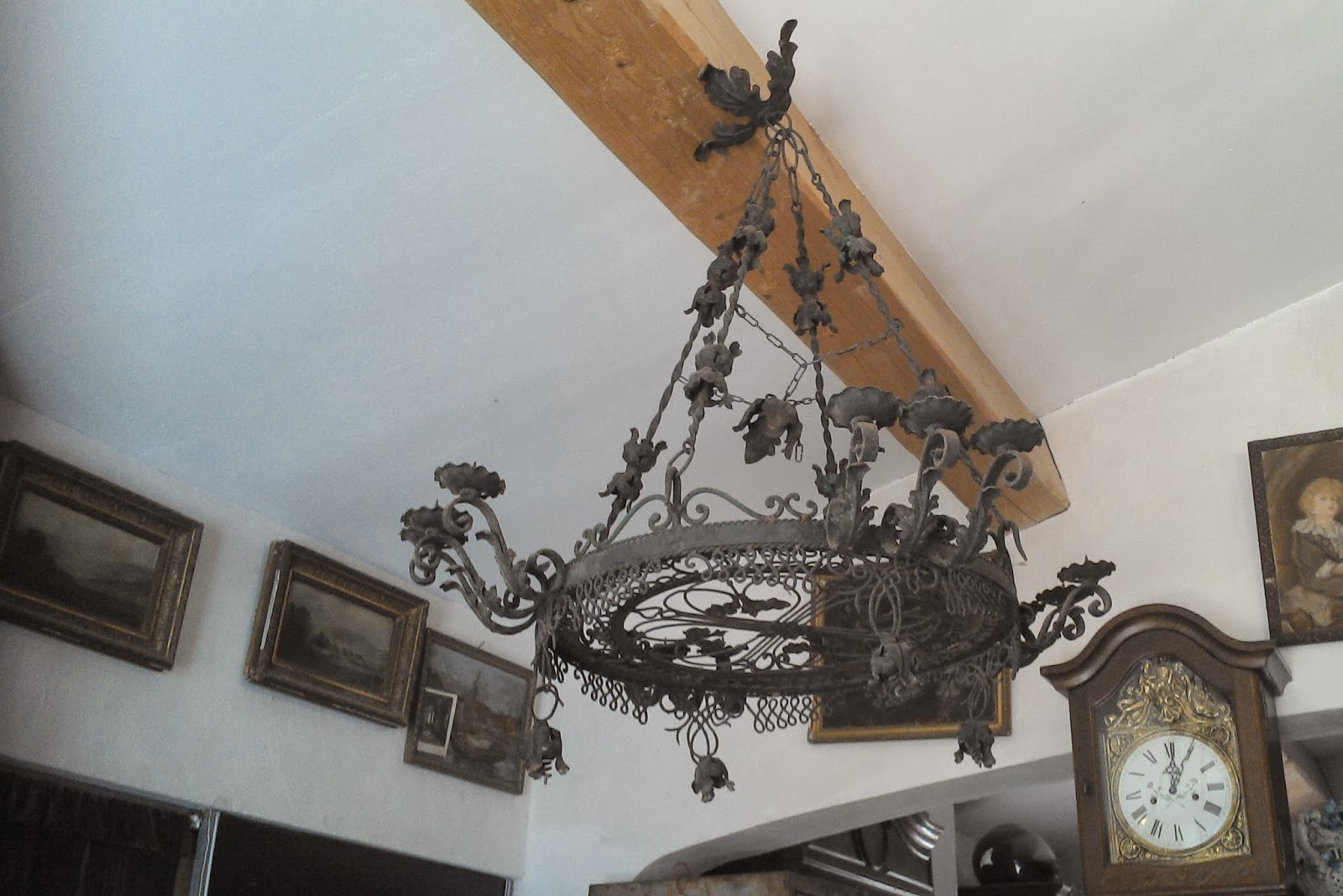 suspension lustre forg fer ancien d 39 poque art nouveau a fleurs c 39 est. Black Bedroom Furniture Sets. Home Design Ideas