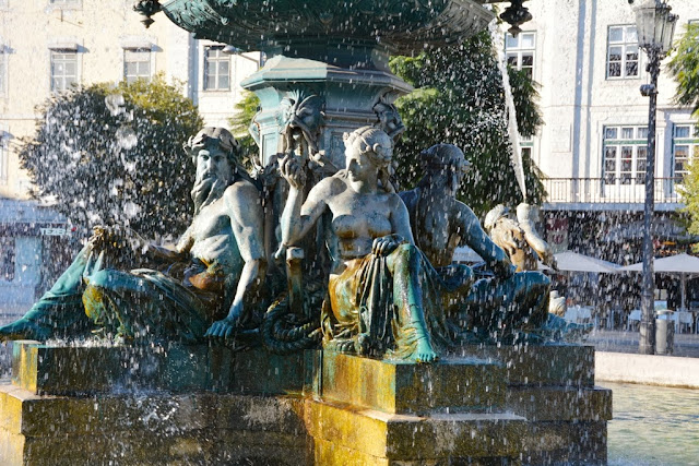 Rossio Square Lisbon Fountain
