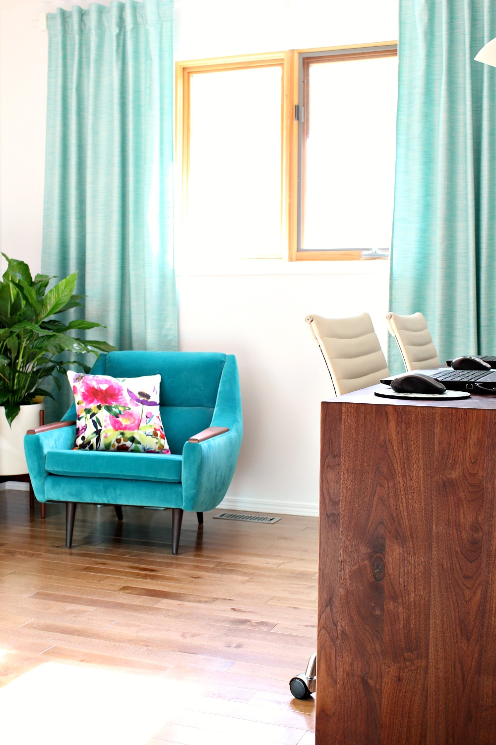 Colorful Mid Century Modern Inspired Home Office Makeover | Before + After  ...