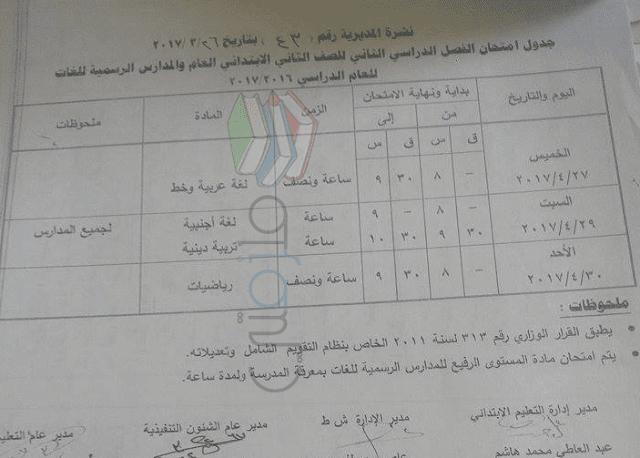 جدول امتحانات الصف الثاني الابتدائي 2016 الترم الثاني محافظة قنا