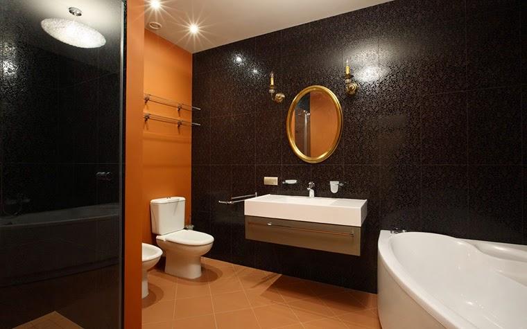 Feirstein U0026 Heckman Lonny Mag Small Black Orange Green Bathroom Design With Walls