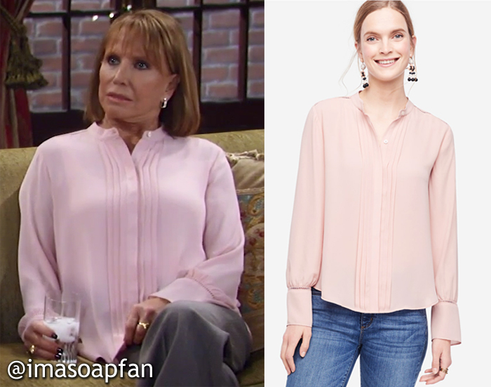 Monica Quartermaine, Leslie Charleson, Pink Pleated Blouse with Cutout Trim, Ann Tayor, GH, General Hospital, Season 55