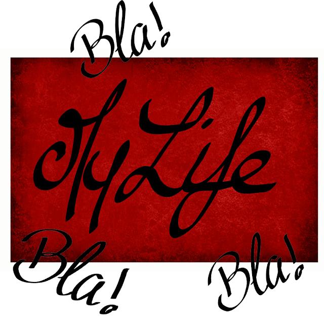 Arrière plan rouge et noir avec inscrit My Life en gros et des petits bla bla bla sur les côtés