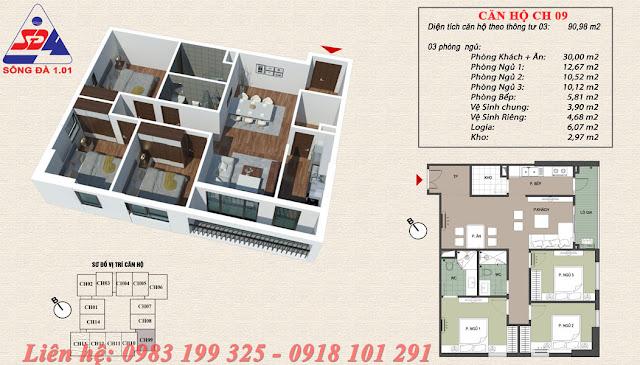 Thiết kế chung cư EcoGreen số 1 Giáp Nhị căn 09