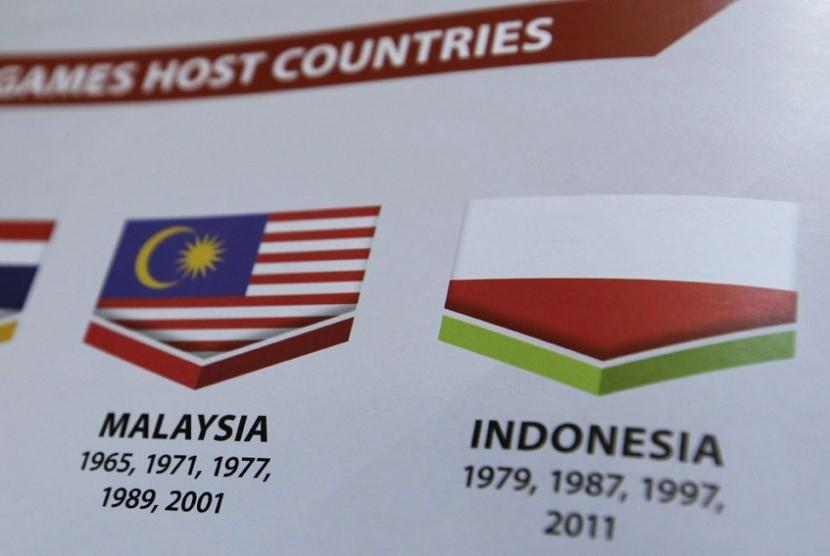 Bendera Indonesia terbalik di buku panduan SEA Games (AP)