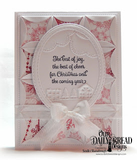 Our Daily Bread Designs Stamp Set: Christmas Card Verses, Custom Dies:  Cloud Borders, Neighborhood Border, Double Stitched Ovals, Pierced Rectangles, Quilted Window Squares, Paper Collection: Snowflake Season