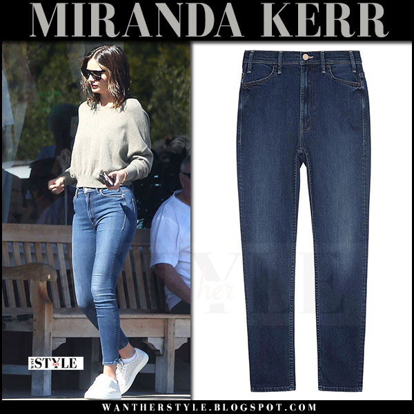 Miranda Kerr in cropped sweater and skinny jeans mother denim what she wore may 26 2017