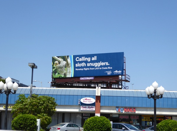 Alaska Airlines sloth snugglers billboard