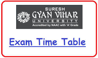 SGVU Jaipur Date Sheet 2021