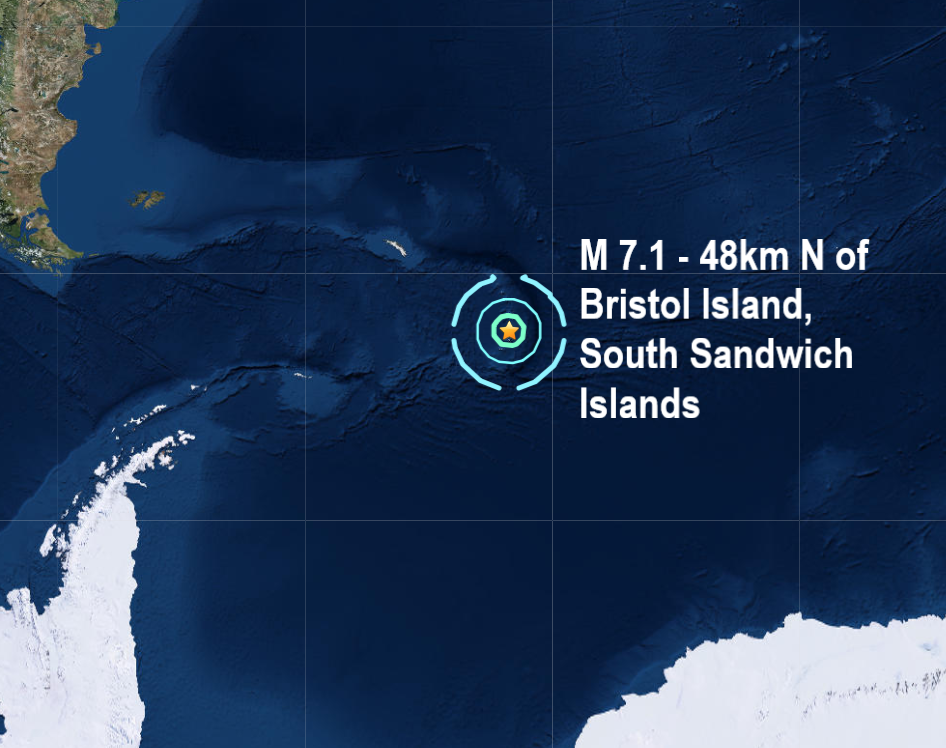 Another monster quake rocks the Southern Hemisphere as magnitude 7.1 - strikes the South Sandwich Islands. Naamloos