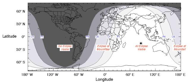 Visibilidade do eclipse lunar parcial de 7 de agosto de 2017