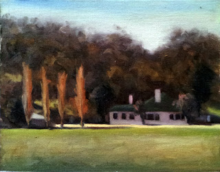 Oil painting of a white house with a green roof with four poplars beside.
