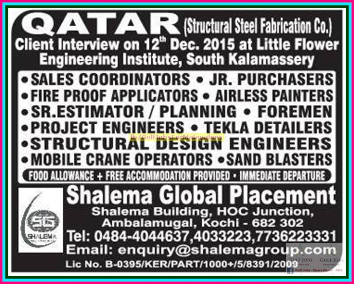 Structural Steel Fabrication Co Jobs For Qatar Free Food Accommodation