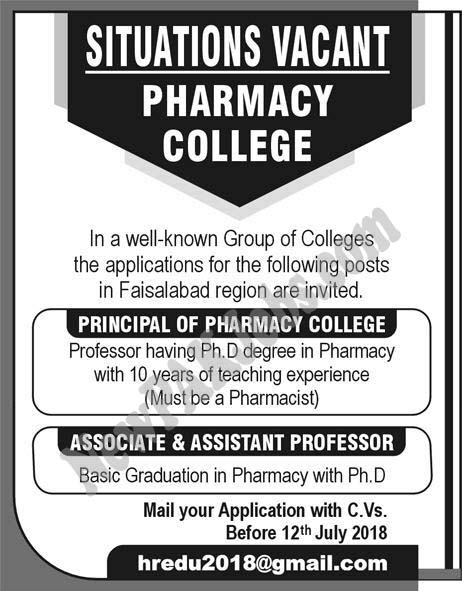 Fresh Jobs n Faisalabad in Pharmacy College, Apply via Email