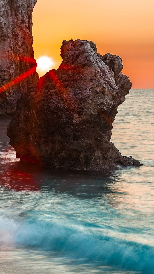 Beach Sunrise Shine Through Rocks  Galaxy Note HD Wallpaper
