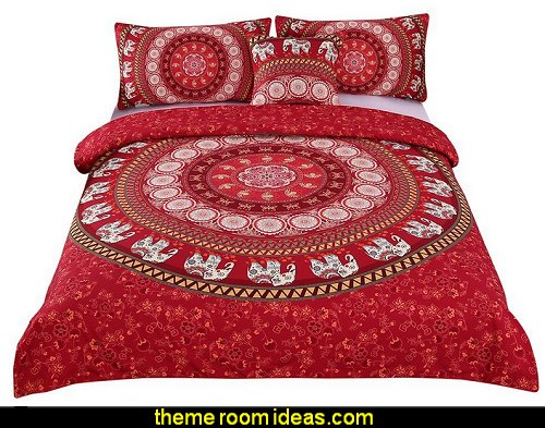 Red Mandala Bedding Home Elephant Messenger Indian Bed Linen Soft Fabric Moroccan Bedclothes Duvet Cover Set