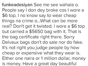 Funke Adesiyan flaunts N2m bag, says she doesn't have time for haters
