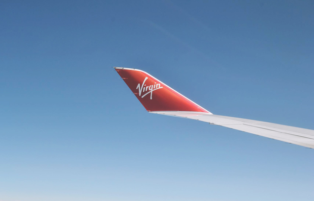 Virgin plane wing