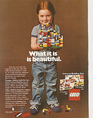 1981 Lego ad showing a young girl, red pigtails, in jeans and gray t-shirt holding primary-colored Legos