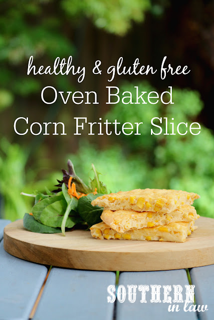 Easy Oven Baked Corn Fritter Slice Recipe - low fat, gluten free, healthy, kid friendly, clean eating recipe, vegetarian, side dishes, lunch, dinner, nut free, high protein
