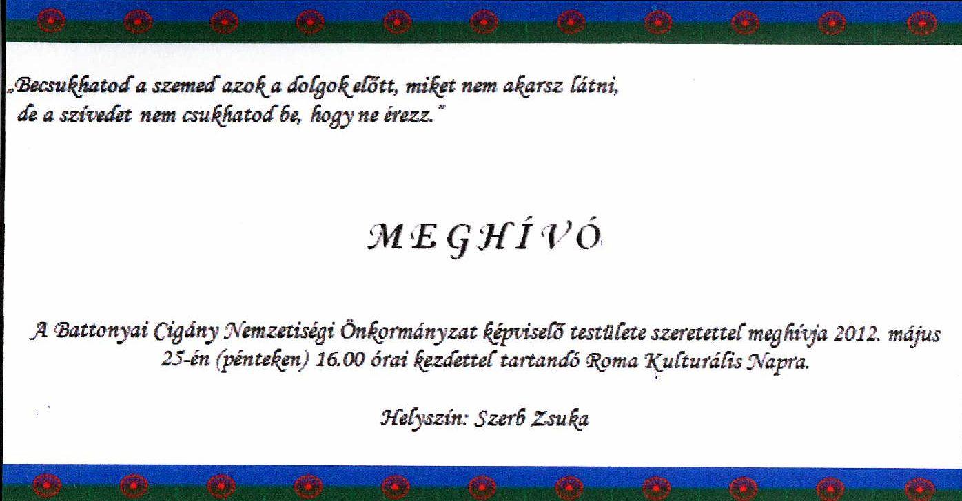 szülinapi meghívó vicces szövegek NETNYÚZ   BATTONYA: Meghívó   Roma Kulturális Napra szülinapi meghívó vicces szövegek