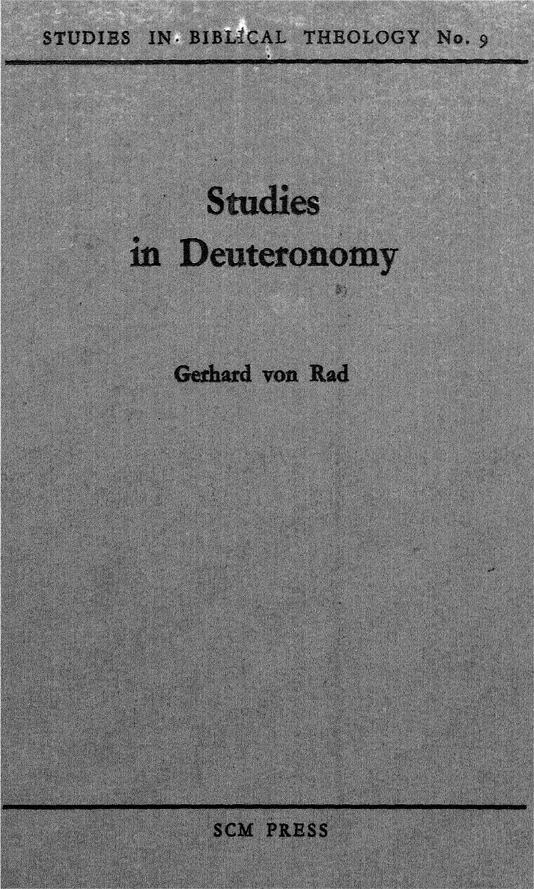 Gerhard Von Rad-Studies In Deuteronomy-