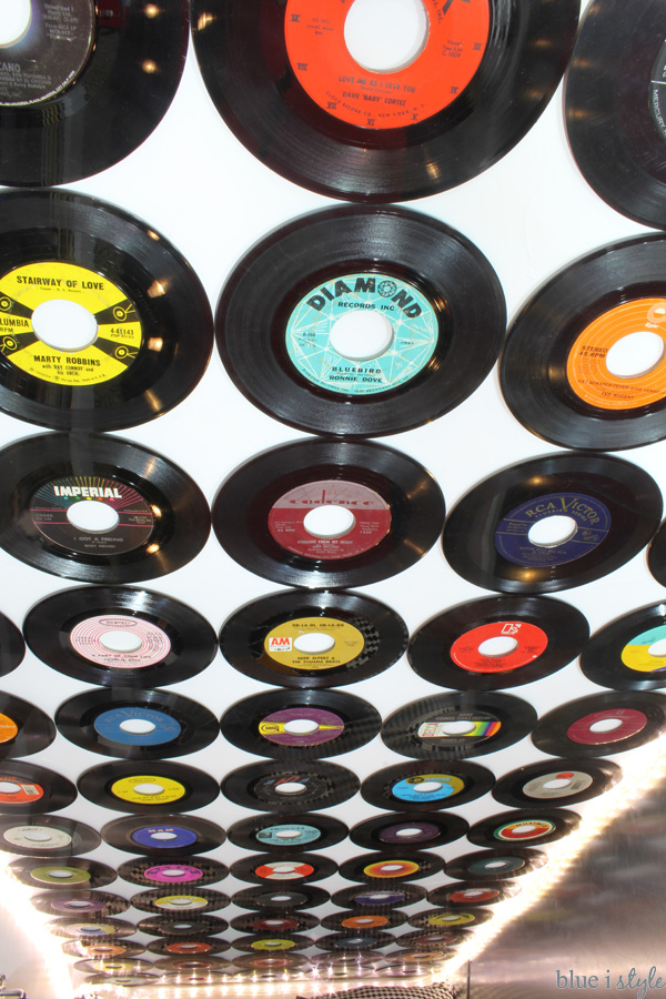 Vinyl Records on Ceiling of Under Stair Playroom