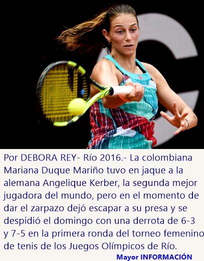 Colombiana Duque Mariño se despide en primera ronda tenis femenino de Río 2016