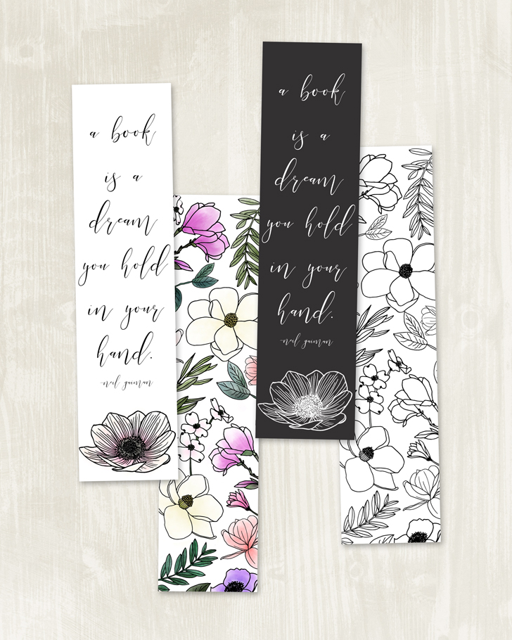 free floral printable bookmarks