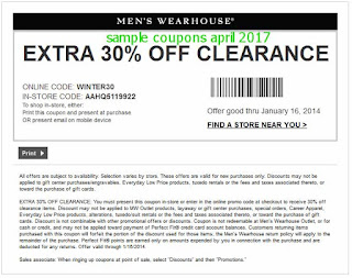 Men's Wearhouse coupons april