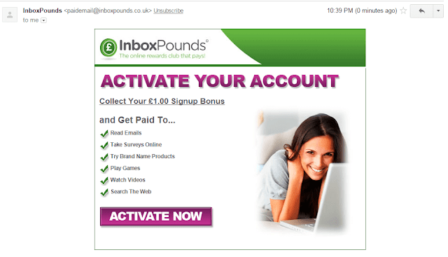 Activation mail from Inbox Pounds