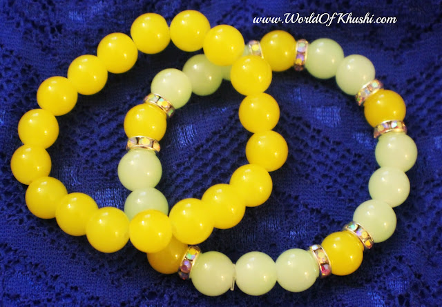 Yellow Color Glass Beads Bracelet | DIY