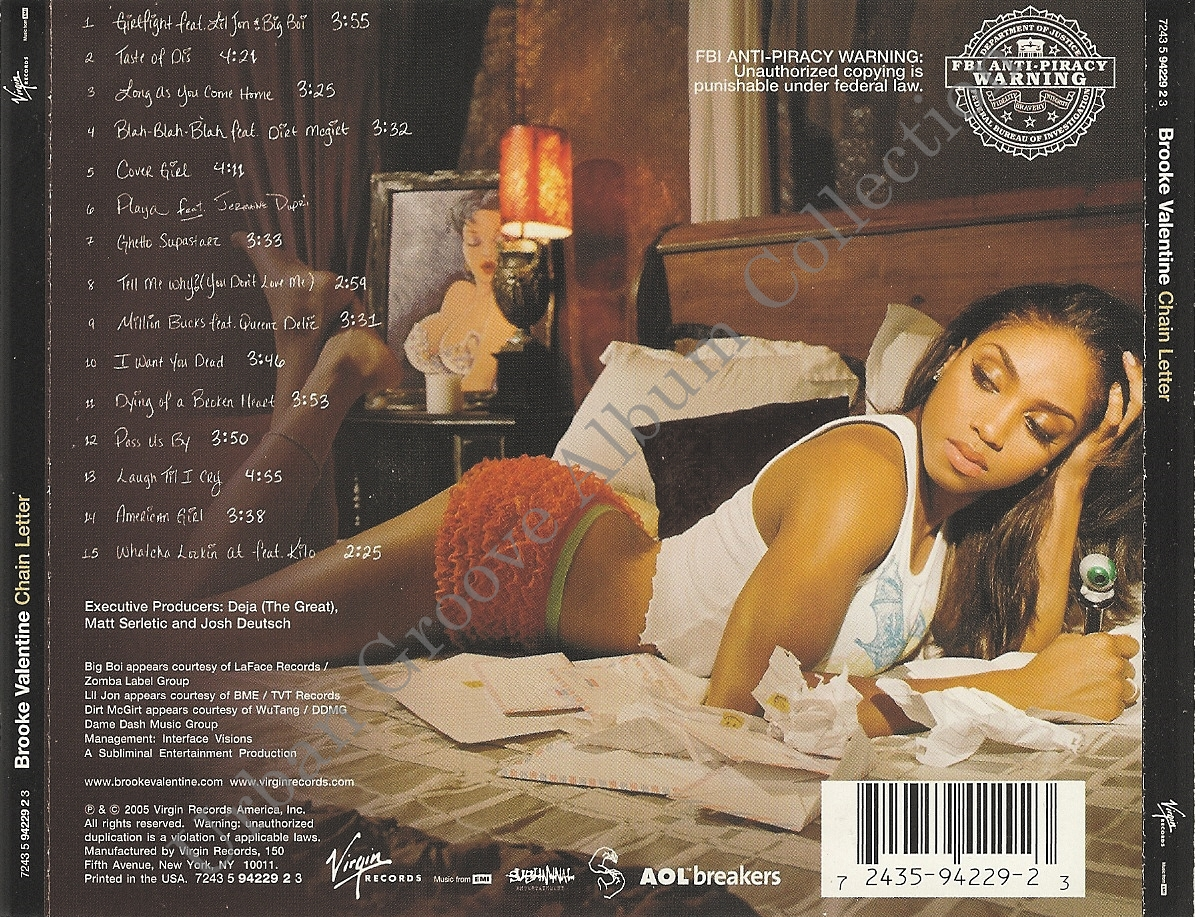 Brooke Valentine  Chain Letter 2005 RB Female  Urban Groove Album Collection
